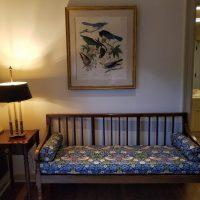 Hay Bedroom Strawberry Thief upholstered 19th Century mahogany bench_041218